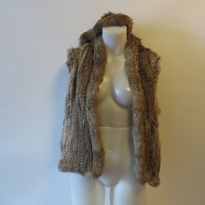 525 AMERICA BROWN HOODED RABBIT FUR VEST SZ L*